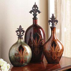 Fleur-de-Lis Glass Bottle, Set of 3 Kirklands! Tuscan Design, Tuscan Style, Bottles And Jars, Glass Bottles, Feng Shui, Tuscany Decor, Vases, Kirkland Home Decor, World Decor