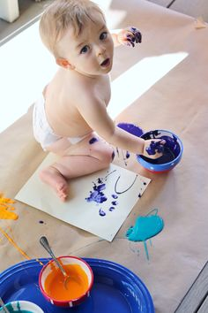 Edible paints for babies and toddlers, A great sensory activity for a 1 year old! Just use Cornstarch, water and food coloring.