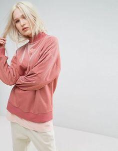 Adidas Originals Originals Oversize Velvet Sweater In Raw Pink Retro Sweatshirts, Zip Up Hoodies, Hooded Sweatshirts, Adidas Originals, Adidas Nmd, Pink Velvet Top, Cheap Boutique Clothing, Asos, Latest Fashion Clothes
