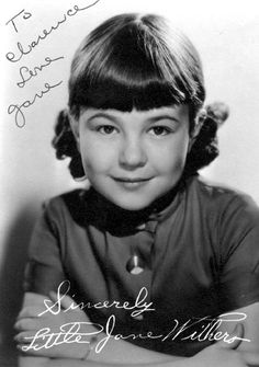 Jane Withers - ) was a famous child actress of the She appeared with bit parts in 1932 and In 1934 Withers landed a co-starring role in a Shirley Temple film and gained much popularity of her own. Child Actresses, Child Actors, Jane Withers, Celebrity Gallery, Movie Stars, Georgia Usa, Atlanta Georgia, Comics, Film