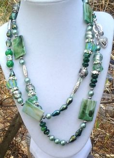 Extra Long Sixties, Chunky, Boho, Hippie Statement Necklace Set in Shades of Green and Silver..with Matching Bracelet....N 093 by NinsWildCreations on Etsy