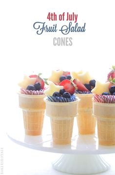 4th of July Fruit Cones via Bakers Royale. Super healthy celebration treat!