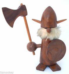 Wooden Viking Gonk Troll Vintage Wood Teak   eBay