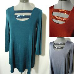 Nwt SLINKY Sequin Tunic top womens XS S M strappy Ladder Blouse stretch knit LS in Clothing, Shoes & Accessories, Women's Clothing, Tops & Blouses | eBay