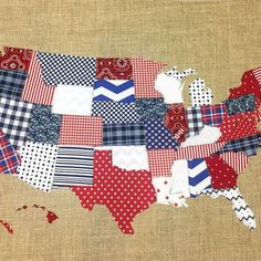Made a Red, White & Blue scrap map a few weeks back! It's perfect for this weekend and the of July! I'm also playing along with What a fun little hashy! Patriotic Quilts, Patriotic Crafts, Patriotic Decorations, July Crafts, Patriotic Party, Map Quilt, Quilt Blocks, Quilting Projects, Sewing Projects