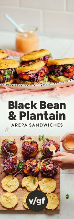 Bean & Plantain Arepa Sandwiches INCREDIBLE Vegan Arepa Sandwiches with Plantains, Black Beans and Guacamole!INCREDIBLE Vegan Arepa Sandwiches with Plantains, Black Beans and Guacamole! Baker Recipes, Cooking Recipes, Cooking Bacon, Vegetarian Recipes, Healthy Recipes, Vegan Black Bean Recipes, Tofu Recipes, Comida Latina, Gourmet