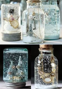25 Ways to Spend your Christmas Holidays homemade snow globes. I should just create a Mason Jars pinboard. Noel Christmas, All Things Christmas, Christmas Globes, Good Christmas Gifts, Christmas Tables, Nordic Christmas, Homemade Christmas Gifts, Christmas Vacation, Modern Christmas