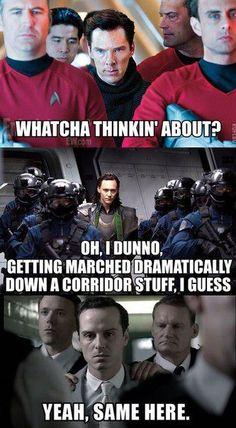Hottest bad boys in movies taking a walk of shame. Star Trek - Avengers - Sherlock.