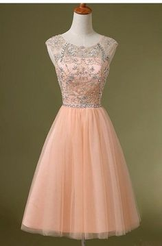 Charming Blush Pink Homecoming Dress,Backless Tulle Short Prom Dress,Beading Princess Party Dress