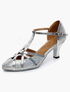 fc2d57c702f60 Sandales de Danse Latine 2019 Argent Bout Pointu Type T 1920s Chaussures  Vintage Brillant Chaussures de