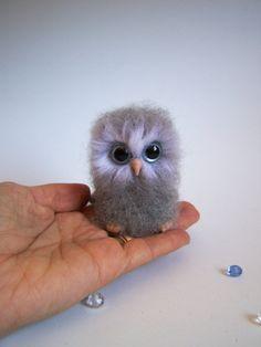 Ready to shipNeedle felted grey ooak Owlminiature by ArteAnRy, €25.00