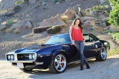 Adrienne Janic and her 1968 Pontiac Firebird built by Year One.