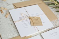 Sample wedding invitation set SUITE 5: White simplistic natural twine organic wedding invitation suite, white rustic wedding stationery set