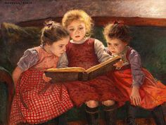 Little Girls Reading a Book/Sisters/Vintage Painting/Poster /Art Print/ Girl Reading, Reading Art, Children Reading, Reading People, Reading Aloud, Reading Stories, Reading Books, Reading Lists, Book Lists