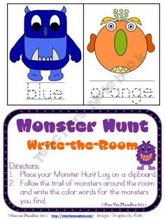 Monster Scavenger Hunt that helps with writing color words...PreK-1st... this could really turn into something FUN!