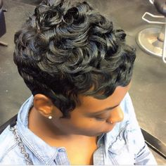 These short black hairstyles are stylish. Short Sassy Hair, Short Curls, Short Hair Cuts, Pixie Cuts, Short Pixie, Pixie Hairstyles, Pixie Haircut, Haircuts, Trendy Hairstyles