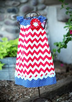 3 Cheers for the Red, White and Blue Chevron Ruffle Dress Girls Size 6- months-5T. $32.00, via Etsy.