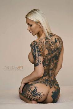 "inkedman66: ""…'Kiss this'… Awesome Inked Butt! Ink'rediably Hot tattooed model… Miss Jill Hardener  Belles Femmes Tatouee's  """