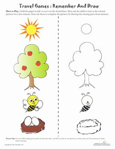 Visual Memory Game Worksheet - fold sheet across the line, let child look at the pictures and then turn over and complete the pictures with missing details Visual Motor Activities, Visual Perception Activities, Therapy Activities, Kindergarten Activities, Class Activities, Fox Coloring Page, Vision Therapy, Working Memory, Pediatric Ot