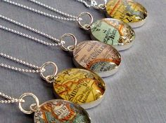 Map Necklace Vintage Atlas Sterling Silver You Choose the City Personalized