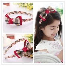 Plaid England children kids baby girls hair accessories hair bands headwear bow flower Retail wholesale Boutique tiara GG-184(China (Mainland))
