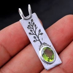Tree of life Peridot  Gemstone Solid 925 sterling Silver Jewelry Unisex Pendant #Handmade #Pendant #Birthday