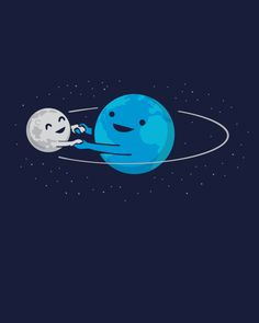 """""""I Love Being Around You"""" (Earth and Moon holding hands) t-shirt design by Nathan Pyle"""