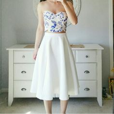 "EndlessRose Blue & White Lace Crop Top Bustier Zara like! Strapless crop top in blue. Contrast piping and round edged hem. Has slight padding. New!   Small length: 9"", Waist - 13.5"", Bust - 16"" - Fits size 2-4. Endless Rose Tops Crop Tops"