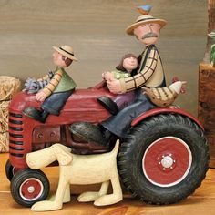 Grandpa Farmer with Children on Tractor Figurine - Everyday Folk Art Figurines & Collectibles – Williraye Studio. $70.00