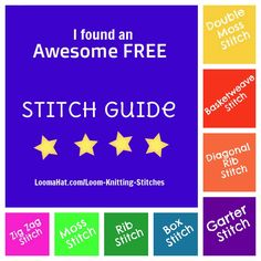 Loom knitting stitches guide. Garter stitch, Rib ,Box, Basket weave, Zig Zag, Double moss, A great Stitch List of the best Knit and Purl Combinations