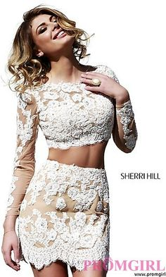 Two Piece Short Lace Dress by Sherri Hill at PromGirl.com