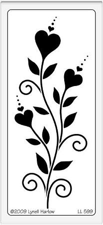 Dreamweaver Large Brass Stencil - Vertical Heart Flowers