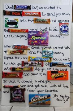 """Alice Cartee Cartee Wynn just searches on """"Candy Card"""" for more ideas for Candy Cards! ich c … # alice - nimivo sites Birthday Candy Posters, Candy Birthday Cards, Birthday Candy Grams, Candy Poster Board, Candy Bar Posters, Valentines Gifts For Boyfriend, Boyfriend Gifts, Valentine Gifts, Homemade Birthday Gifts"""