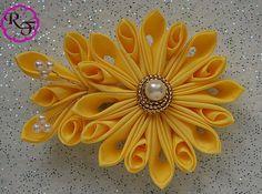Kanzashi Flower Yellow ribbon flower french by RainOfFlowers