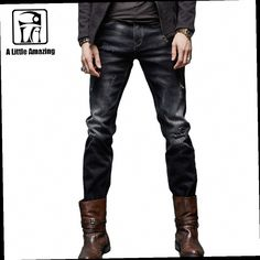 43.02$  Watch now - http://alip3t.worldwells.pw/go.php?t=32602545624 - ALA MASTER Clothing  Black Men Designer Jeans Pants Mid Waist Straight Type Destroyed Biker Jeans Monkey Wash 158041