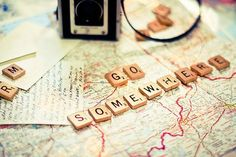Go somewhere - travel quote travel quotes inspiration scrabble letters map camera We Are The World, In This World, Voyager C'est Vivre, Just Go, Let It Be, Oh The Places You'll Go, Travel Quotes, Wanderlust Quotes, Wanderlust Travel