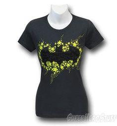 Batman Bats & Stars Symbol Jr Womens T-Shirt
