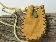 Leather Medicine Bag, Sage Pouch, Black Powder, Handmade Jade Amulet