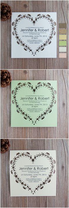 affordable elegant heart design laser cut wedding invitations