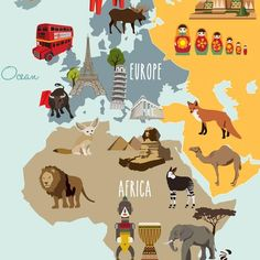 Childrens world map wallpaper removable wall mural animal self childrens world map poster sticker gumiabroncs Gallery