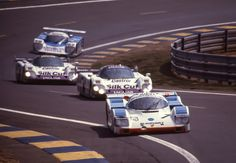 Porsche 962 C #7 (D. Hobbs, D. Theys & F. Konrad) followed by two Jaguar XJR-9 LM:s and a Toyota 88C during the 24 Heures du Mans in 1988.