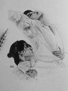 Kpop Drawings, Art Drawings Sketches Simple, Art Manga, Bts Book, Foto Jimin, Bts Aesthetic Pictures, Kpop Fanart, Art Plastique, Bts Pictures