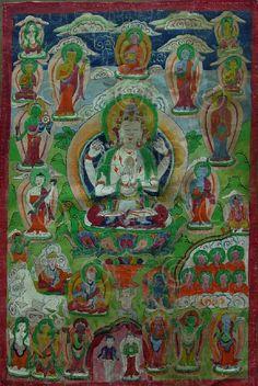 Paubha d'Avalokiteshvara.  Newar.  Vallée de Katmandu, Népal.  Mi-20ème siècle.