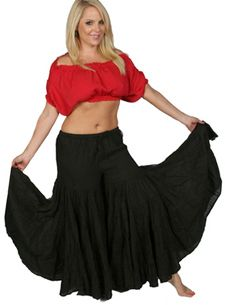 14 Yard Tribal and Fusion Belly Dance Skirt Pants - BLACK
