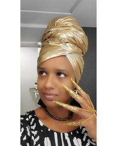 African Scarf, Gold Scarf, Metallic Scarves, African Head Wraps, Wedding Hijab, Metal Fashion, Head Wrap Scarf, Gold Fabric, Headdress