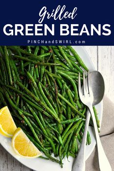 Grilled green beans are tender and smoky with crisp edges. If you've wondered how to grill green beans, this is the recipe for you! Just toss the green beans in a simple mixture of oil, herbs and spices then transfer to a grill basket. Vegan Side Dishes, Best Side Dishes, Vegetable Side Dishes, Side Dish Recipes, Vegetable Recipes, Dinner Recipes, Dinner Ideas, Main Dishes, Grilled Green Beans