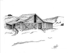 This old barn is in the Yellowstone Park. A favorite of the area photographers. This Pen and Ink drawings size is 81/2 inches by 11 inches. Offering a limited number of prints. Once these are sold NO