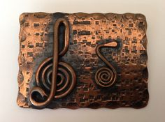 Vintage c.1950s beatnik copper treble clef brooch by TheElegantCollector