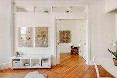 high windows between rooms High Windows, Transom Windows, Interior Windows, Interior Walls, Small Rooms, Small Spaces, Room Divider Doors, Small Space Interior Design, Floor Plan Layout
