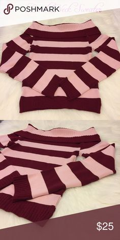 👑Boat Neck Sweater Pink & Maroon 👑Boat Neck Sweater Pink & Maroon   Size: S - M   This is a light weight sweater. Perfect  to wear under a heavier coat or a light brisk day.    ❌No Trades Sweaters